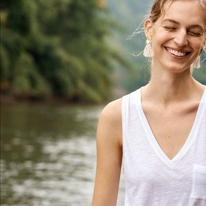 Whisper cotton v neck pocket tank